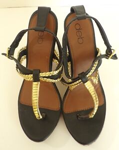 4651ac2e072a DEB Women s Shoes Black   Gold Strappy Summer Wedge Heels Sandals ...
