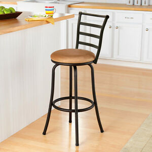 Cool Details About Barstool High Back Chair Metal Beige Brown Comfortable Swivel Kitchen Counter 29 Andrewgaddart Wooden Chair Designs For Living Room Andrewgaddartcom