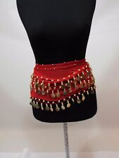 Belly Dance three Layers Coin Belt Hip Scarf Wrap Skirt Dancing Costume