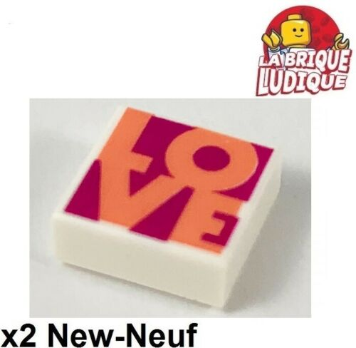 Lego 2x Tile decorated 1x1 Coral LOVE amour Magenta Background 3070bpb147 NEUF