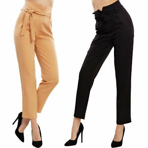 08ebcba1f02b Caricamento dell'immagine in corso Pantaloni-donna-lunghi-vita-alta-fiocco- laccio-palazzo-