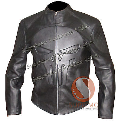 NEW MENS DEVIL EMBOSSED SKULL PUNISHER STYLISH CELEBRITY MOVIE LEATHER JACKET