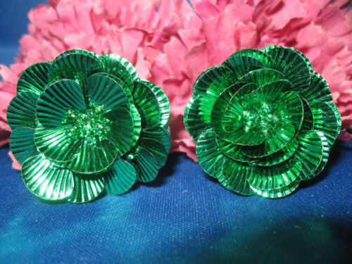 LAYERED FLOWER SEQUIN BEADED APPLIQUES PAIR 0867-M