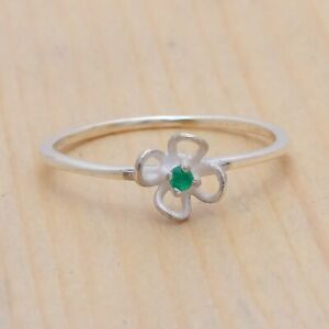 Emerald Natural Gemstone Handmade 925 Sterling Silver Ring Size 6, Gift Ring