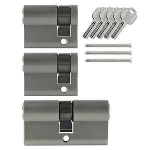 3x-Tuer-Zylinder-Schloss-40-60-mm-gleichschliessend-5-Schluessel-Schliessanlage