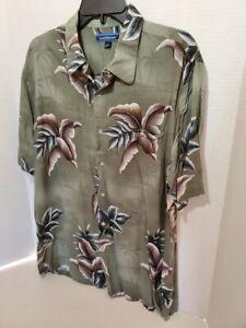 Croft-Barrow-Mens-Large-Shirt-Hawaiian-Style-Button-Down-Short-Sleeve-Flower