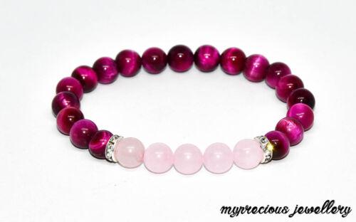 Natural de Rosa Cuarzo Rosa Ojo de Tigre Piedra Pulsera De Piedras Preciosas Con Cuentas Reiki Chakras