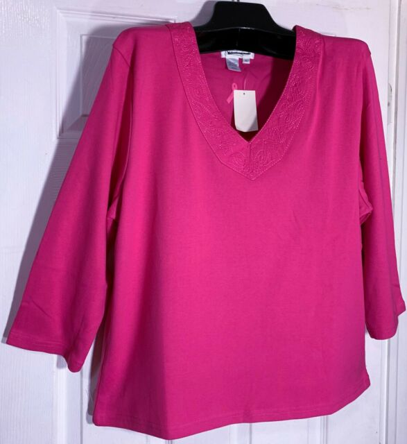 New Coldwater Creek women XL soft cotton Top Blouse Paisley embroidery pink