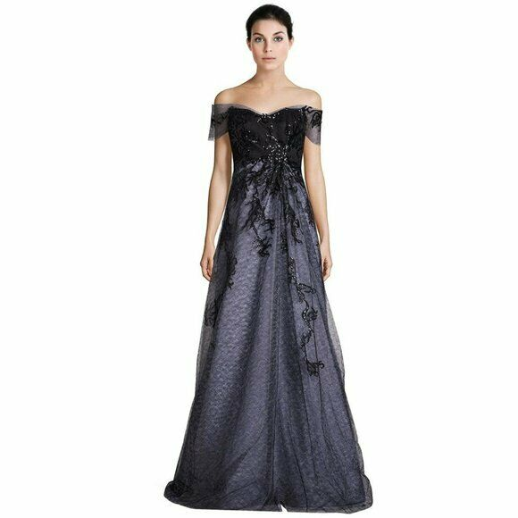 Rene Ruiz Off Shoulder Organza Embellished Gown
