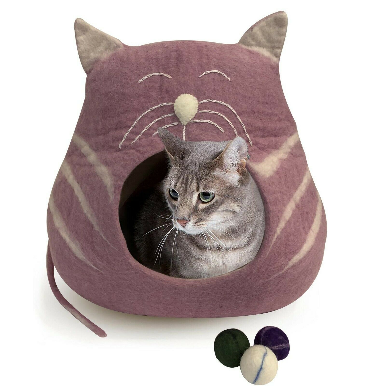 100% All Natural Wool, Genuine Felt Cat Bed Cave, Handmade in Nepal