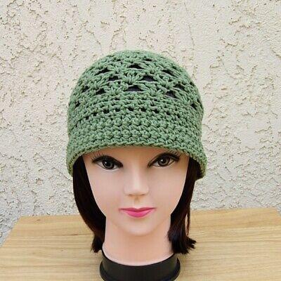 Olive Green 100 Cotton Crochet Knit Summer Hat Womens Cloche