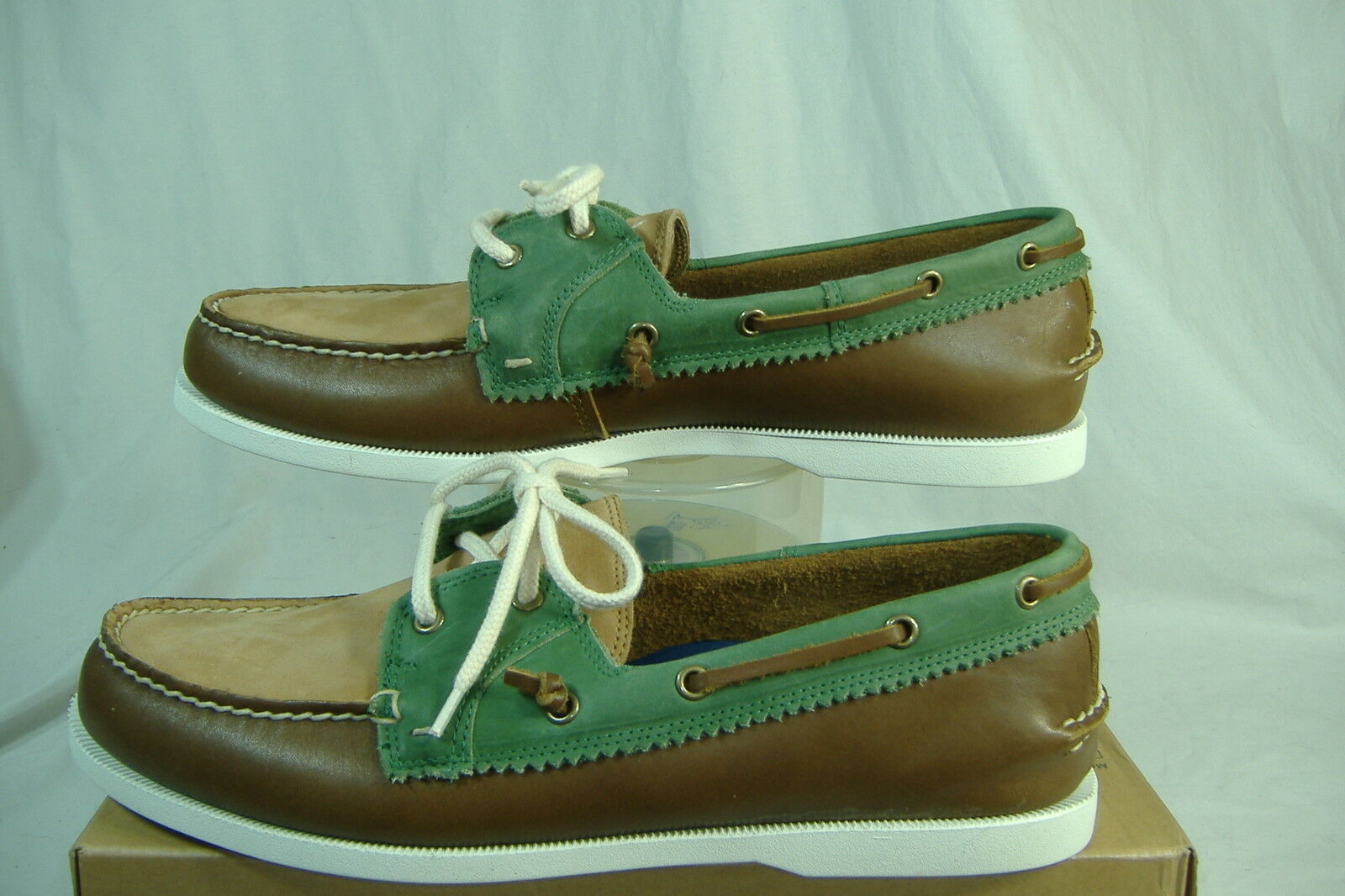New Mens 13 Bass Montauk Brown Green Leather Slip On Boat Shoes 129
