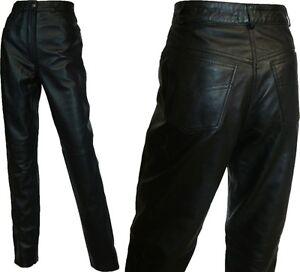 Jeans pour en London noir femmes Pantalon Licorne noir cuir véritable 1dZY5w0q