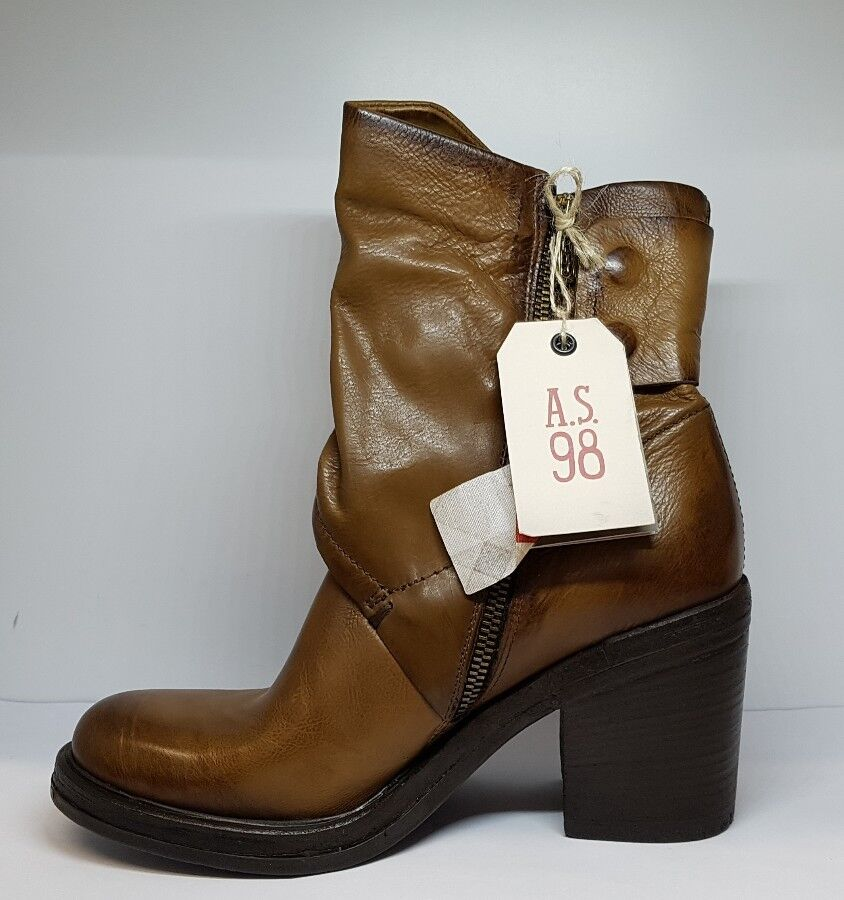 A.S.98 Cross Laid Leather Ankle Boots Tan Brown Size EU 38