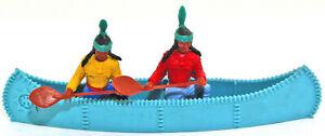 Two-Timpo-Indians-in-a-Blue-Canoe-54mm-Original-Toy-Soldiers-poses-amp-colors-vary