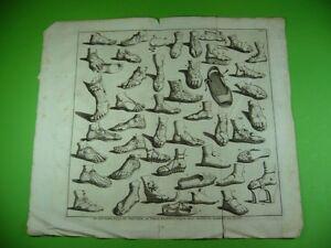 Altes-Blatt-um-1690-mit-Abbildungen-von-Sandalen-verschiedenster-Machart