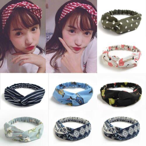 2 Pcs Boho Floral Twist Knot Headband Elastic Wrap Turban Hair Band Hairband