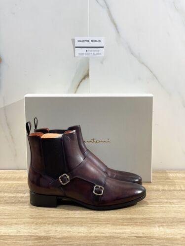 Santoni Stivaletto Donna Double Buckle In Pelle Bordo' Luxury Boot Woman 40