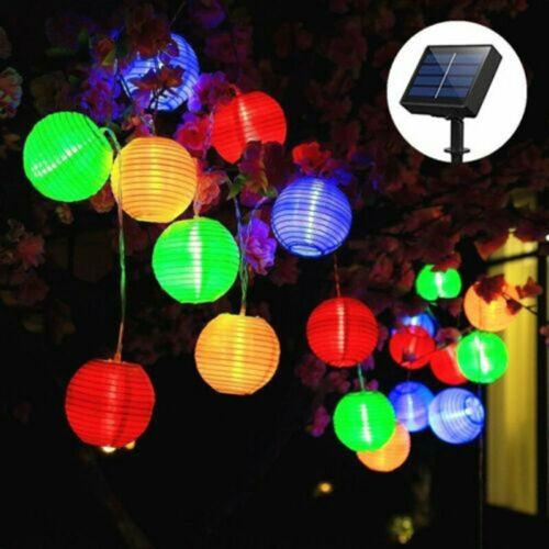 LED Solar Power Chinese Lantern Fairy String Lights Garden Festival Party Decor