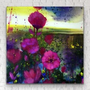 "24""x24"" - X LARGE ORIGINAL Painting - Moon Garden Poppy Art By JENNIFER TAYLOR"