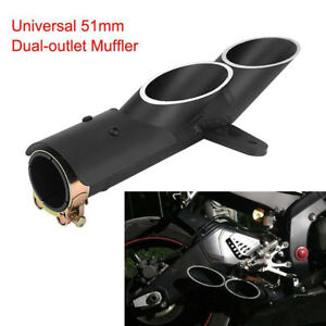 Dual-Outlet-Motorcycle-Exhaust-Muffler-Tail-Pipe-Slip-On-38mm-51mm-Universal-SP