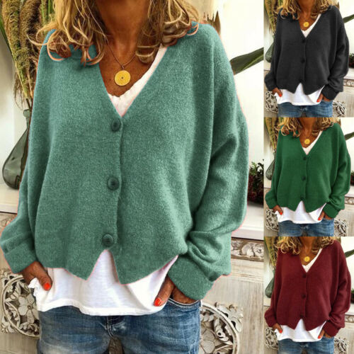 Womens Knitted Tops Sweater Cardigan Casual Buttons V Neck Loose Jumpers Blouse