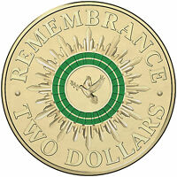 2014 $2 UNCIRCULATED COIN DOVE REMEMBRANCE DAY COLOUR PRINTED COIN FROM ROLL