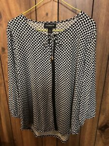 NWOT-LIz-Claiborne-Career-Women-s-Pullover-Top-X-Large-Black-and-White