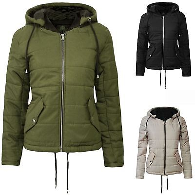 New Womens Jacket Cropped Zip Puffa Up Padded Quilted Hooded Coat