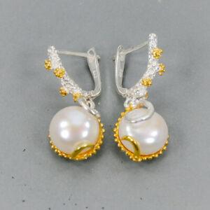 Pearl-Earrings-Silver-925-Sterling-Vintage-E38657