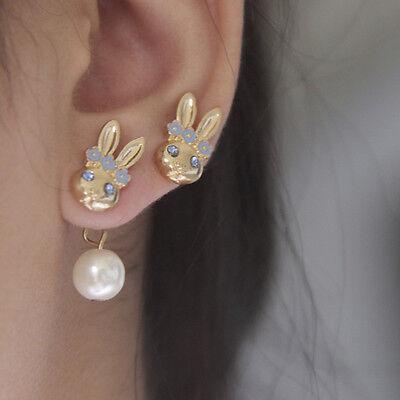 Simple Elegant Gold Plated Bunny Rabbit Crystal Pearl Ear Stud Earrings Jewelry