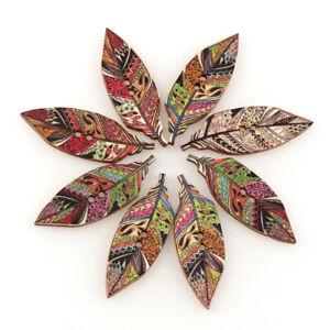 50Pcs-2-Holes-Handmade-Vintage-Leaf-Wooden-Buttons-Clothes-Decor