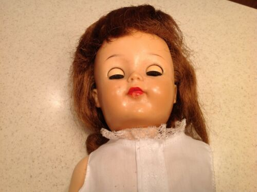 "Posie Ideal Vinyl head hard body Doll Sleep Eyes Red Rooted Hair 17"" W outfit"