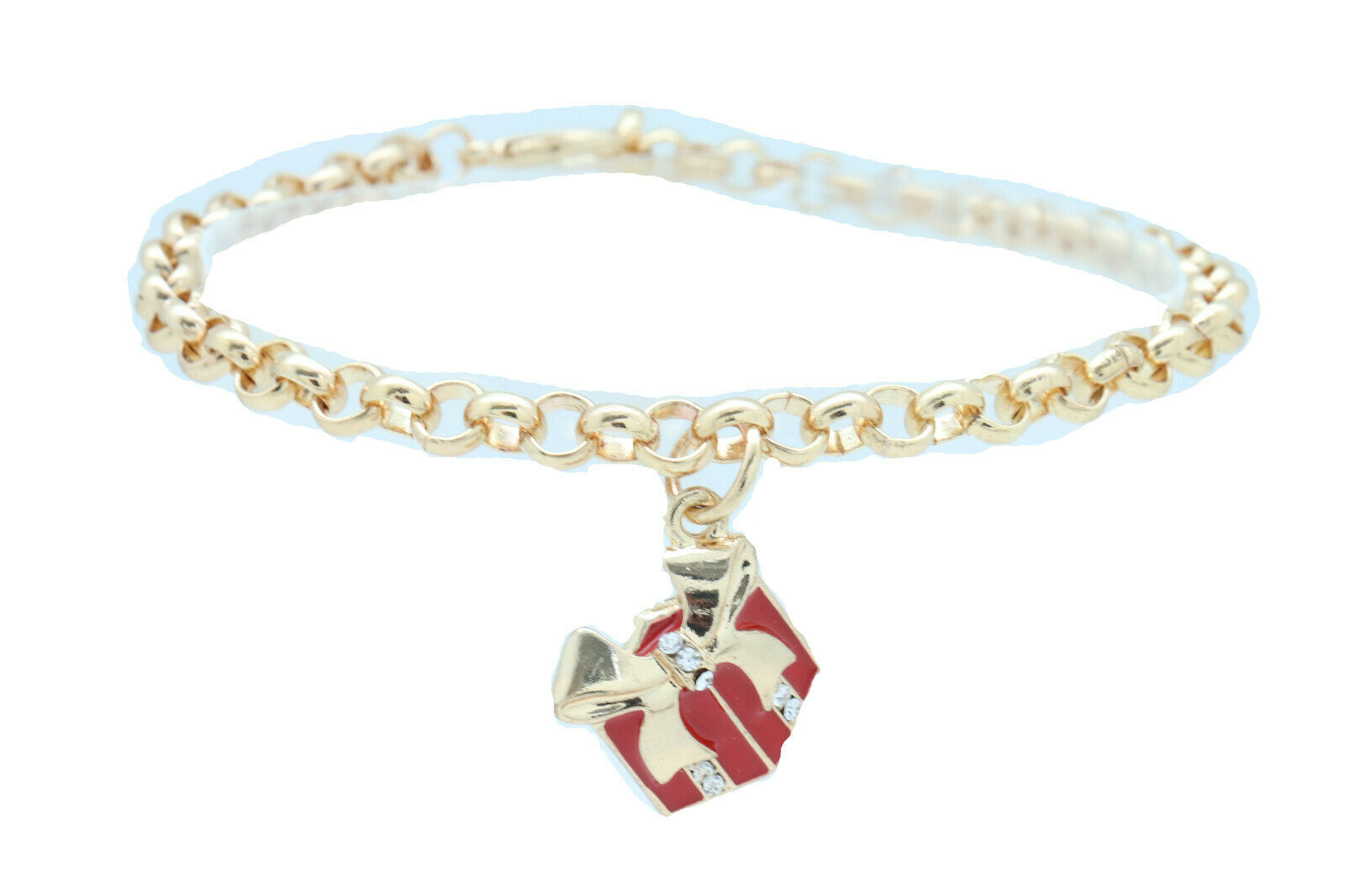 Women Gold Metal Chain Boot Bracelet Shoe Red Gift Present Charm Day Night Wear