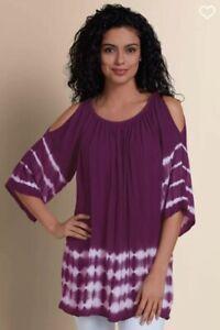 SOFT-SURROUNDINGS-Medium-M-Faded-Crinkle-Cold-Shoulder-Tie-Dye-Purple-Tunic-Top