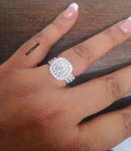 Plata-925-Damas-3-Piezas-Boda-Compromiso-Corte-Redondo-Halo-anillo-nupcial-Set