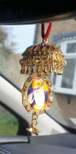 vergoldet Sikh Guru Nanak Guru Gobind Singh Anhänger chabba Auto Spiegel Hänger