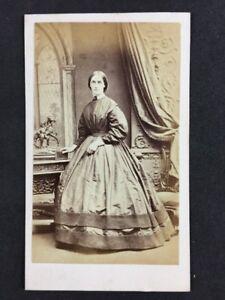Victorian-Carte-De-Visite-CDV-Hawkins-Brighton-Lady-Large-Dress-Bronze-Statue