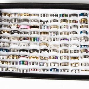 NEW-100pcs-MIX-LOT-Stainless-Steel-rings-Wholesale-Men-Women-Fashion-Jewelry-lot