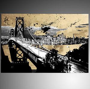 QUADRI-MODERNI-ASTRATTI-SAN-FRANCISCO-BRIDGE-ORO-DIPINTI-A-MANO-OLIO-SU-TELA