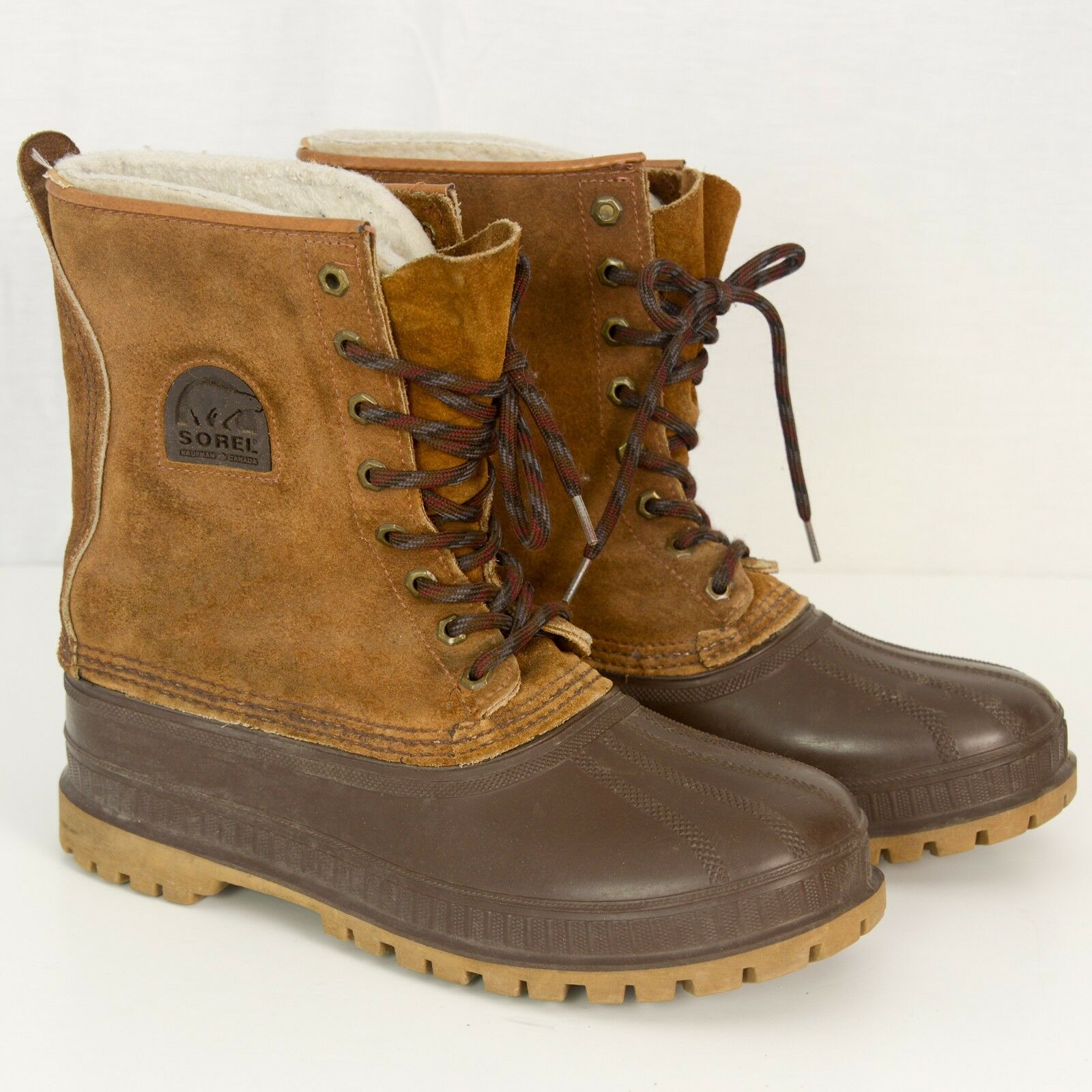 SOREL Winter Work Stivali USA Duck Muck Suede Pelle Rubber Steel Shank Uomo 8
