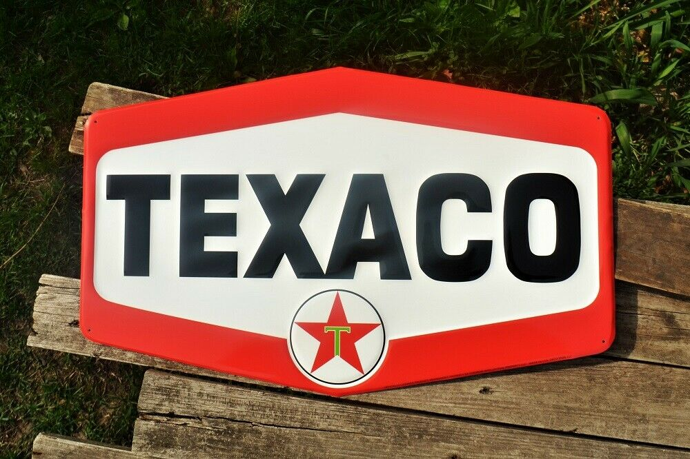 Gasoline /& Motor Oil Texaco Hexagon Embossed Tin Metal Sign Star Gas Station