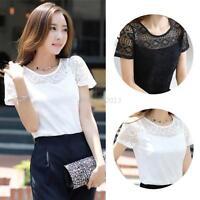 Summer Fashion Lady Short Sleeve Lace Floral T-Shirt Hollow Crochet Shirt Blouse