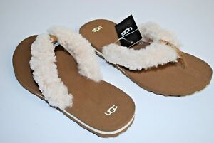 66a7b43f1d6 Details about NEW UGG Australia Schutter Chestnut Sheepskin Beach Kid Flip  Flop Shoes SIZE 3