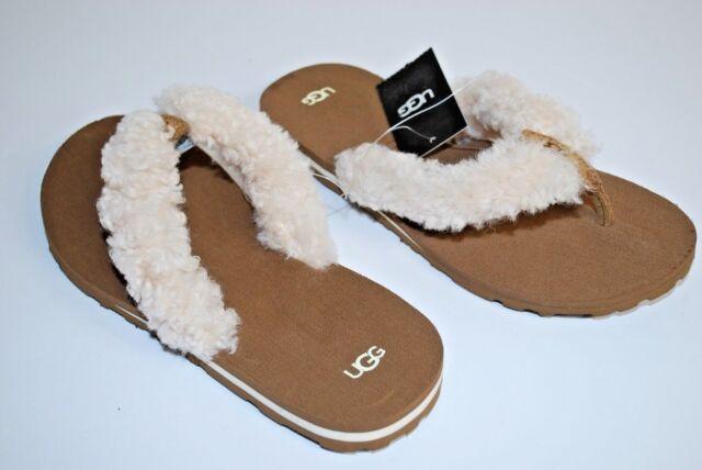 c5547ce5e339 NEW UGG Australia Schutter Chestnut Sheepskin Beach Kid Flip Flop Shoes  SIZE 3