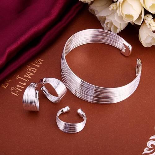 925 sterling solid silver fashion lignes bracelet boucles d/'oreilles Anneaux Bijoux Sets S312