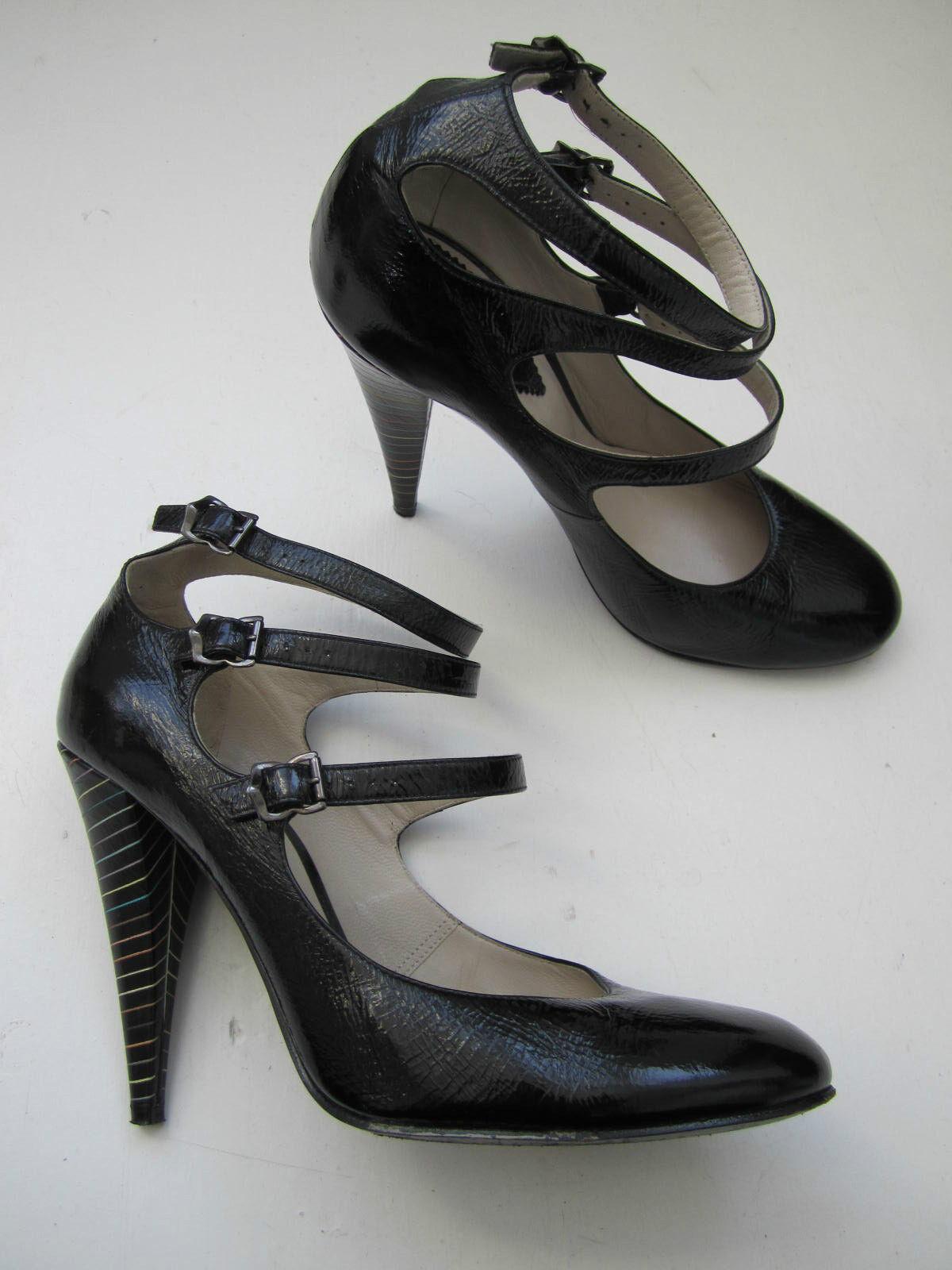 Sexis Zapatos Zapatos Zapatos de Paul Smith Negro Patente Cuero 3 Correa Bondage Tacones Talla 40 en muy buena condición  mejor oferta