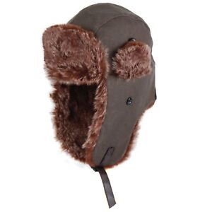 f9e25e73ac6 DENTS Russian Ushanka Waxed Cotton Trapper Hat with Faux Fur Trim 1-2108  New