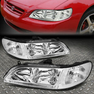 Pair of Chrome Housing Clear Corner Headlight Assembly Lamps Replacement for Honda Accord CG 98-02