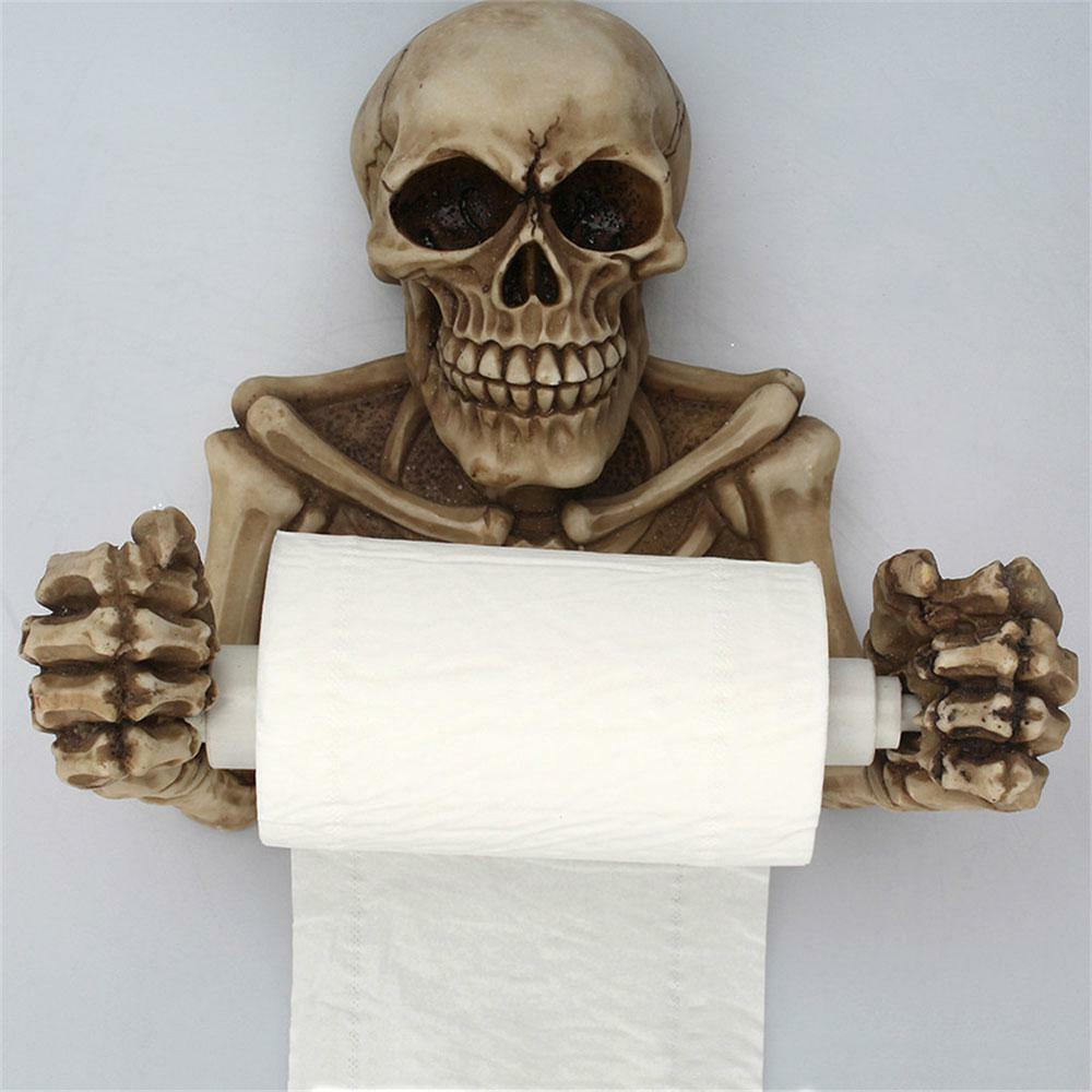 Novelty Skeleton Toilet Paper Holder Skull Roll Wall Mount